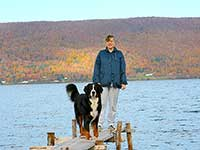 our male Bernese Moutain Dog Moritz on the dock on Bras D'Or Lake